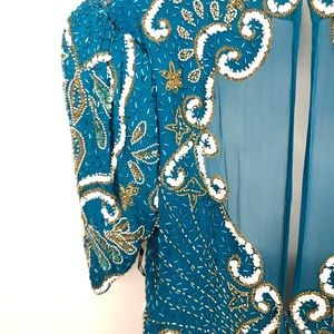 Sz 18 Teal  w/ Sequins & Pearl Sheer Maxi Gown